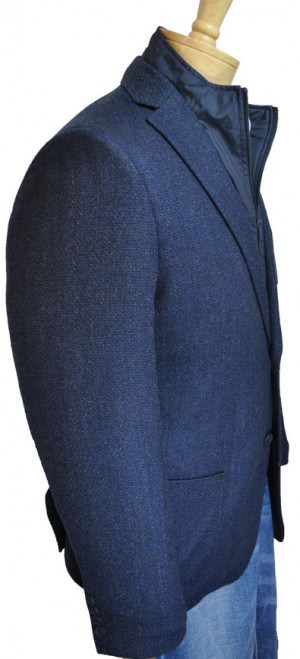 Calvin Klein Navy Tweed Slim Fit Sportcoat with Zip-Out Bib #7IY0145