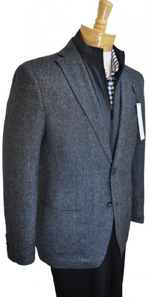 Calvin Klein Gray Tweed Slim Fit Sportcoat with Zip-Out Bib #7OV0050