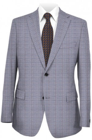 Petrocelli Blue & Tan Houndstooth Gentleman's Fit Sportcoat #80103