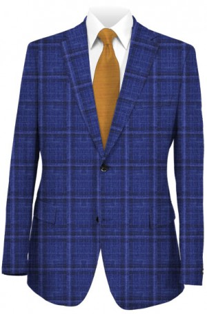 TailoRED Blue Windowpane Tailored Fit Sportcoat #8140095