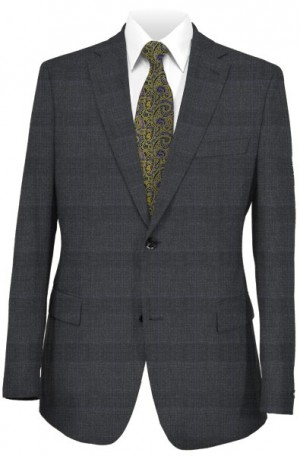 Petrocelli Gray Plaid Classic Fit Suit #86315