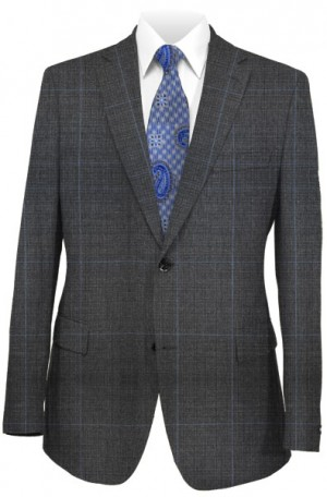 Rubin Gray Windowpane Tailored Fit Suit #A00249