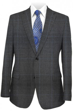 Rubin Gray Windowpane Tailored Fit Suit A00249