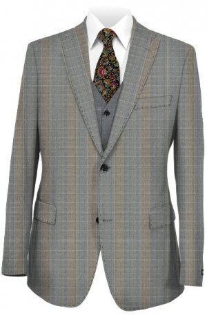 Canaletto Gray & Tan Tailored Fit Vested Suit #CN1403-1