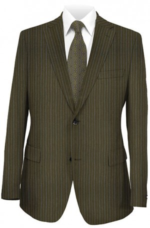 Hickey-Freeman Olive Stripe Suit F05-321027