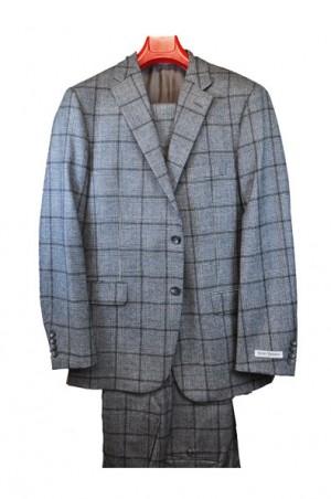 Hickey Freeman Gray Windowpane Flannel Suit F51-513029