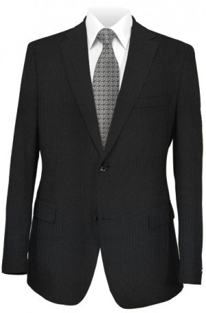 Hickey Freeman Black Mini-Stripe Suit F61-312039