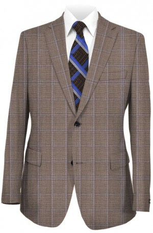 Hickey Freeman Tan Windowpane Suit F71-312108