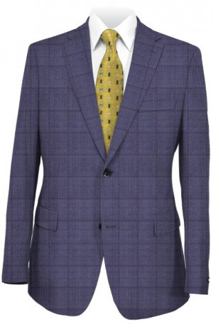 Hickey Freeman Blue Windowpane Silk-Wool Suit F75-312043