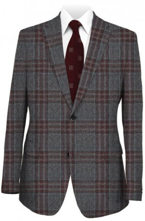 Hickey Freeman Gray & Cranberry Wool-Cashmere Sportcoat #F75-512003