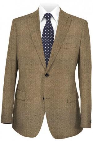 Hickey Freeman Brown Herringbone Cashmere Sportcoat #F75-525009