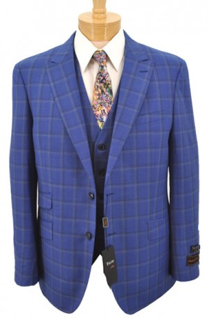 Tiglio Blue Windowpane Vested Tailored Fit Suit #F8004
