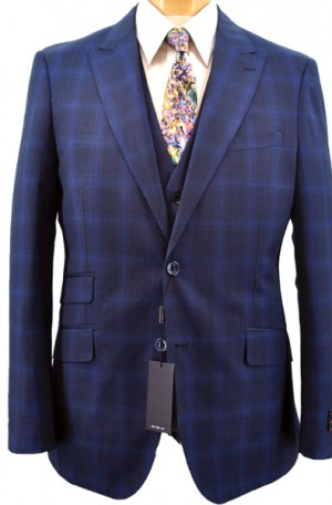 Tiglio Navy Windowpane Vested Tailored Fit Suit #F8034