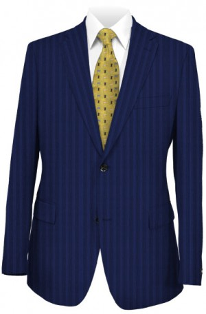 Hickey Freeman Medium Blue Stripe Suit #F81-312034