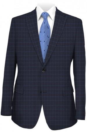 Hickey Freeman Navy & Blue Check Suit #F85-312001