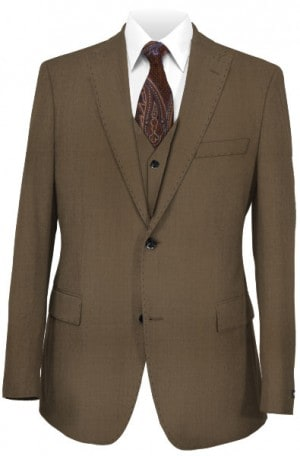 Tiglio Dark Tan Vested Tailored Fit Suit FT1207-3