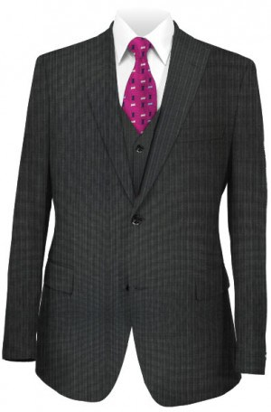 Tiglio Charcoal Stripe Tailored Fit Vested Suit FT1247-1