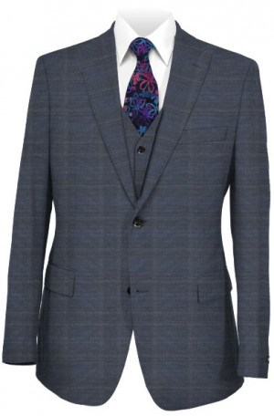 Tiglio Blue Windowpane Tailored Fit Vested Suit FT2467-1