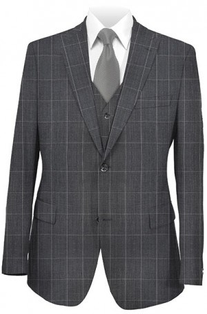 Tiglio Gray Windowpane Vested Tailored Fit Suit FT3053-2