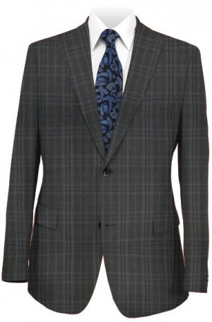 Tiglio Black Plaid Tailored Fit Vested Suit FT3124-1