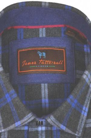 James Tattersall Gray Pattern Tailored Fit Flannel Shirt #J045601-Blue