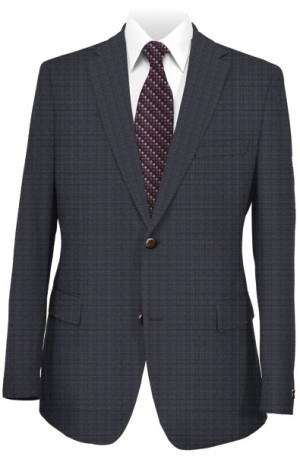 Jack Victor Navy Pattern Tailored Fit Suit #JVC38225