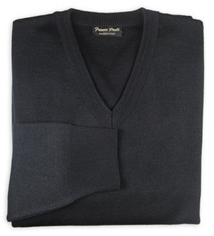 Franco Ponti Black V-Neck Sweater #K01-BLK