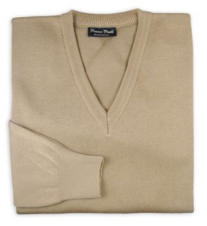 Carlo Ponti Camel Color V-Neck Sweater #K01-CML