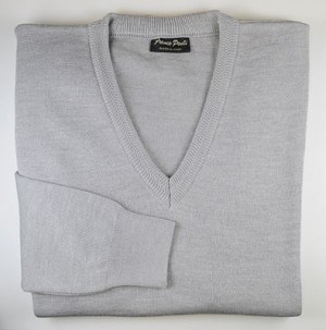 Franco Ponti Silver Gray V-Neck Sweater #K01-SLVR
