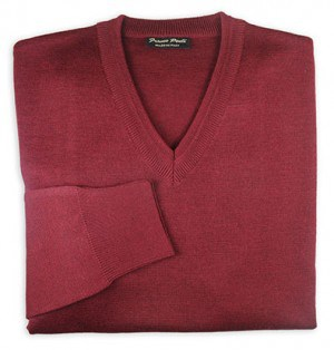 Franco Ponti Burgundy V-Neck Sweater #K01-WINE