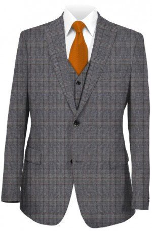Michael Kors Gray Plaid Tailored Fit Suit with Vest #K2Z1271