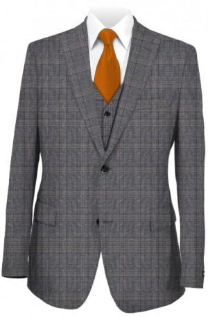 Michael Kors Gray Plaid Tailored Fit Suit with Vest #K2Z1271