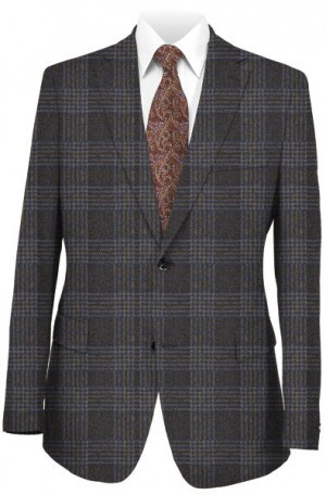 Bruno Magli Brown Plaid Tailored Fit Sportcoat #M0207