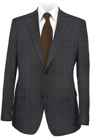 Max Davoli Black Windowpane Tailored Fit Sportcoat #MD7313-2