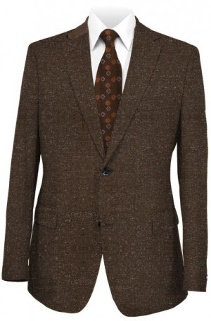 Andrew Marc Brown Tweed Tailored Fit Leather Trimmed Sportcoat #MQY0002