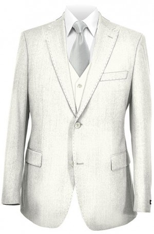 Tiglio White Tailored Fit Vested Suit OFFWHITE