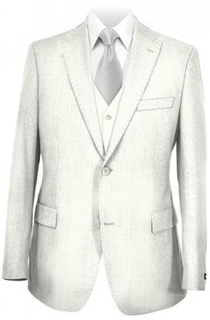 Tiglio White Tailored Fit Vested Suit #OFFWHITE