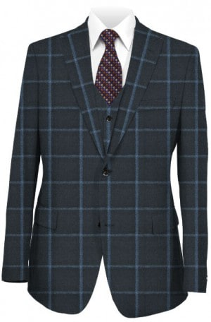 Tallia Blue Windowpane Slim Fit Vested Suit #SFX0142