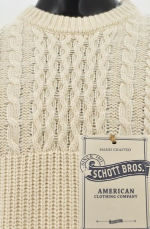 Schott Off-White 1/2-Cable Knit Sweater #SW1816-OWHT