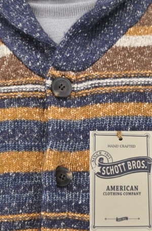 Schott Brown & Blue Cotton Cardigan #SW1826-MULTI