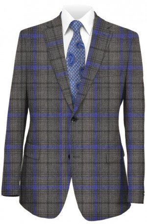 Tallia Gray & Blue Unstructured Slim Fit Sportcoat #TFW0111