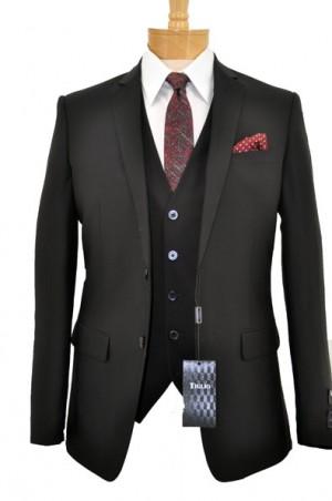 Tiglio Black Vested Slim Fit Suit #TIG1001V-NTCH
