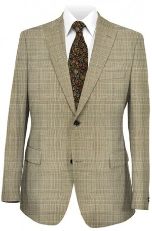 Tiglio Dark Tan Plaid Tailored Fit Vested Suit #TS2161-2
