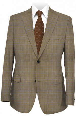 Tiglio Medium Brown Plaid Tailored Fit Vested Suit TS2161-3
