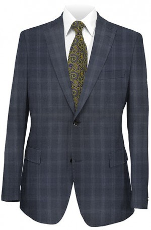 Tiglio Blue Tonal Windowpane Tailored Fit Vested Suit TS3057-2V