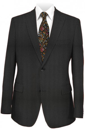Tiglio Black Herringbone Tailored Fit Vested Suit TS4035