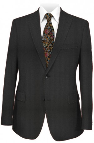 Tiglio Black Herringbone Tailored Fit Vested Suit #TS4035