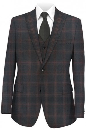 Tiglio Black with Burgundy Windowpane Tailored Fit Vested Suit TS4179-1