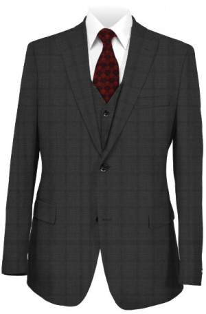 Tiglio Deep Charcoal Windowpane Tailored Fit Vested Suit #TS6023-1