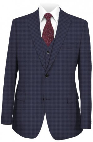 Tiglio Navy Check Vested Tailored Fit Suit #TS6059-2